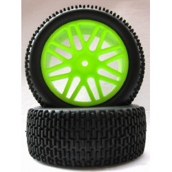 Ruedas Coche RC Buggy Delanteras 1/10 Universal verdes