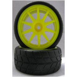 Ruedas Coche RC Touring 1/10 Universales amarillas