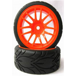 Ruedas Coche RC Touring 1/10 Universales naranjas fofi